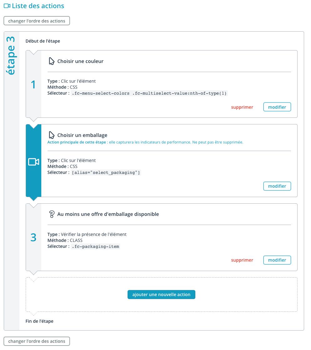 Liste des actions d'une étapes de scénario