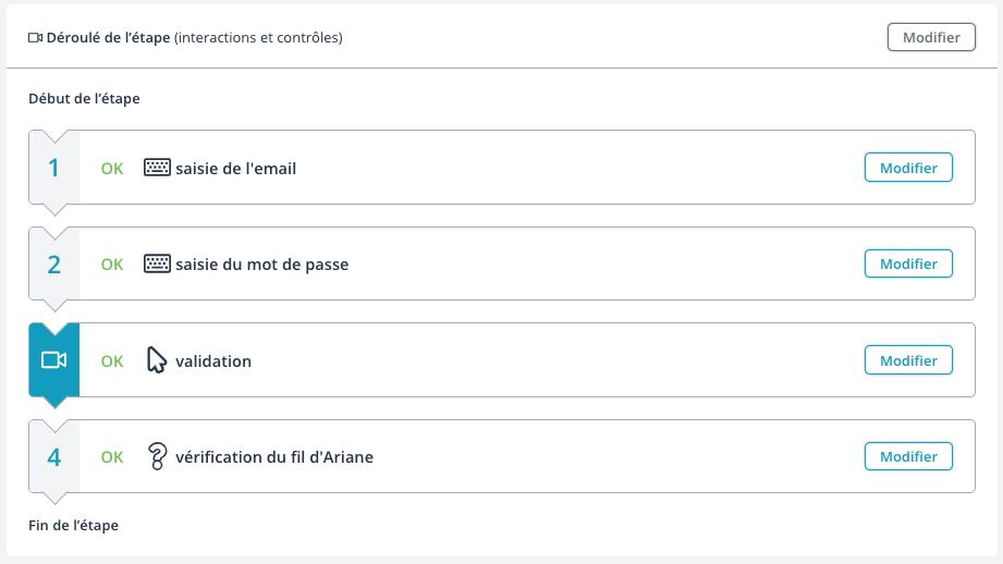 Liste des actions d'une étape