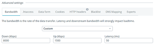 update bandwidth and latency