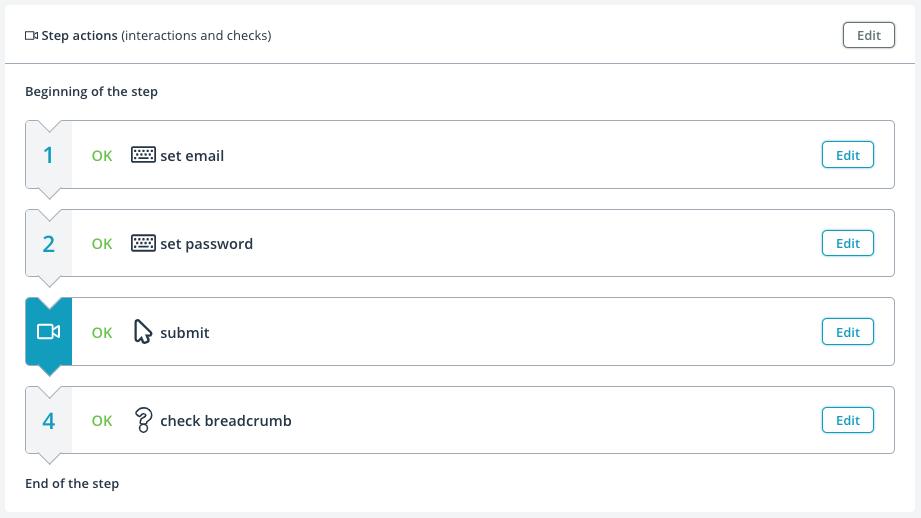 User journey step list