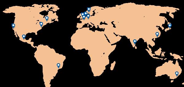 Carte des localisations de sondes de test de performance